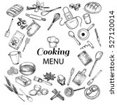 kitchen objects cooking menu | Shutterstock .eps vector #527120014