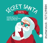 cartoon secret santa christmas... | Shutterstock .eps vector #527129884
