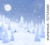 winter watercolor christmas... | Shutterstock .eps vector #527131660