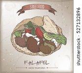 falafel in pita color sketch on ...   Shutterstock .eps vector #527132896