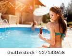 woman applying sun uv... | Shutterstock . vector #527133658