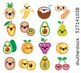 kawaii fruit and nuts cute... | Shutterstock .eps vector #527141038