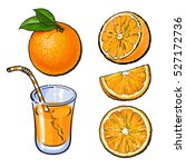 oranges and a glass of freshly... | Shutterstock .eps vector #527172736