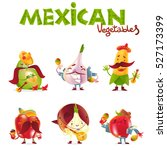 mexican vegetable characters... | Shutterstock .eps vector #527173399