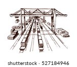 gantry crane railroad lines... | Shutterstock .eps vector #527184946