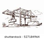 gantry crane sketch | Shutterstock .eps vector #527184964