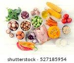 balanced diet. healthy eating... | Shutterstock . vector #527185954