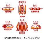 set of stylized kebab  burrito  ... | Shutterstock .eps vector #527189440