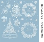 xmas set with beautiful paper... | Shutterstock . vector #527199028