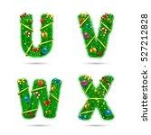 fir tree font letters.... | Shutterstock .eps vector #527212828