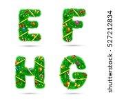 fir tree font letters.... | Shutterstock .eps vector #527212834