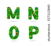 fir tree font letters.... | Shutterstock .eps vector #527212840