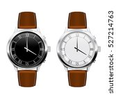 classic men's watch with brown...   Shutterstock .eps vector #527214763