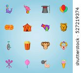 circus icons set. cartoon...   Shutterstock . vector #527219374