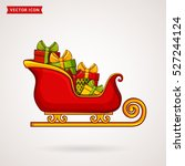 santa's sleigh with gift boxes. ... | Shutterstock .eps vector #527244124