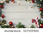 christmas background on the... | Shutterstock . vector #527255503