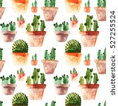 seamless pattern with cactus.... | Shutterstock . vector #527255524