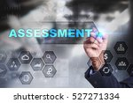Small photo of Businessman is drawing on virtual screen. assessment concept.