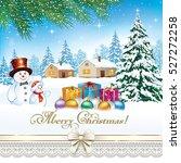 Christmas Card With A Snowman...