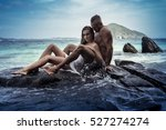 sensual young couple in white... | Shutterstock . vector #527274274
