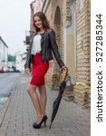 beautiful girl in a red skirt... | Shutterstock . vector #527285344