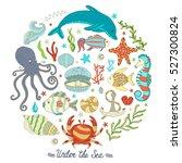 vector colorful wild sea life... | Shutterstock .eps vector #527300824