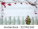 christmas wooden background... | Shutterstock . vector #527301160