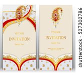 indian invitation card  pattern ... | Shutterstock .eps vector #527302786