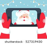 santa claus taking selfie photo ... | Shutterstock .eps vector #527319430
