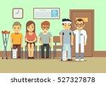patients in doctors waiting... | Shutterstock .eps vector #527327878