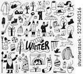 winter   doodles set | Shutterstock .eps vector #527340316