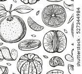 oranges  sketch seamless... | Shutterstock .eps vector #527344984
