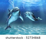 two dolphins happily swimming... | Shutterstock . vector #52734868