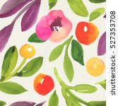 seamless watercolor floral... | Shutterstock . vector #527353708