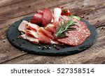 food tray with delicious salami ... | Shutterstock . vector #527358514