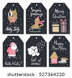 christmas tags set with cute...   Shutterstock .eps vector #527364220
