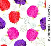 hand drawn seamless flower... | Shutterstock .eps vector #527369530