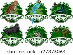 save jungle emblems with... | Shutterstock .eps vector #527376064