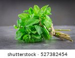 a bunch of mint tied with twine ... | Shutterstock . vector #527382454