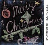 merry christmas handwritten on... | Shutterstock . vector #527401168