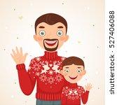 happy christmas family look ... | Shutterstock .eps vector #527406088