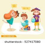 kids boys and girls playing... | Shutterstock .eps vector #527417080