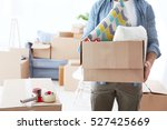 house moving concept. man... | Shutterstock . vector #527425669