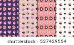 set of 4 elegant seamless... | Shutterstock .eps vector #527429554