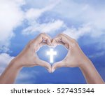 hand shape love sign with... | Shutterstock . vector #527435344