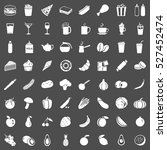 vector set of 64 food icons.... | Shutterstock .eps vector #527452474