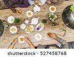 afternoon tea dessert happiness ... | Shutterstock . vector #527458768