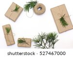 kraft paper  jute cord and pine ... | Shutterstock . vector #527467000
