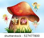 five fairies flying in mushroom ... | Shutterstock .eps vector #527477800