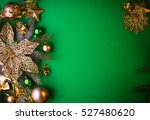 green christmas background with ... | Shutterstock . vector #527480620